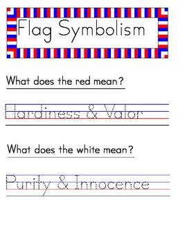 American Flag - Handwriting Packet MANUSCRIPT PRINT