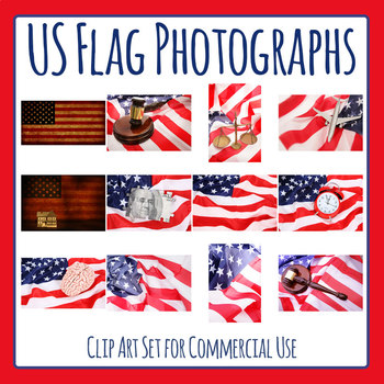 American Flag Photos / Photograph Clip Art Set for Commercial Use