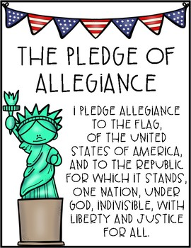 American Flag Pledge of Allegiance Printable Poster Word Sign