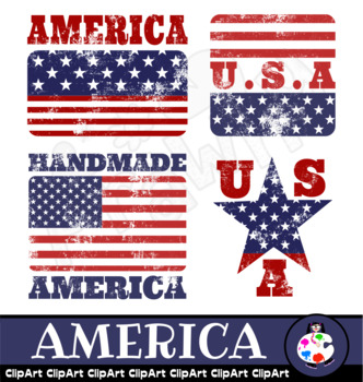American Flag Rubber Stamps Clip Art