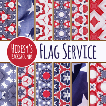 American Flag Service Digital Papers / Backgrounds Clip Art Set Commercial Use
