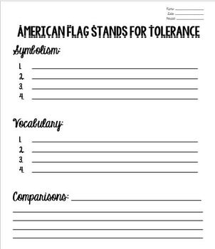 American Flag Stands for Tolerance Informational Close Reading Group Activity