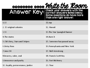 American Flag Write the Room Trivia Questions
