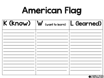 American Flag Writing Template KWL Chart Graphic Organizer by ...