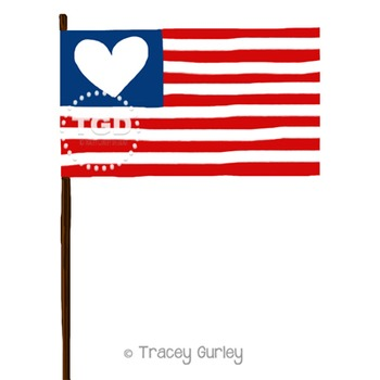 American Flag with Heart Printable Tracey Gurley Designs