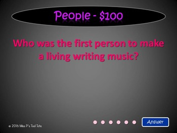 American Folksong Jeopardy