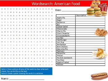 American Food Wordsearch Puzzle Sheet Keywords Food Science Nutrition