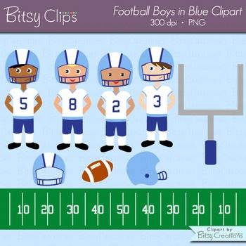 American Football Boys in Blue and White Clipart Commercia