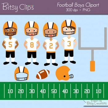 American Football Boys in Orange and Black Clipart Commercial Use Clip Art