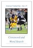 American Football Day - November 5th Crossword Puzzle Word Search Bell Ringer