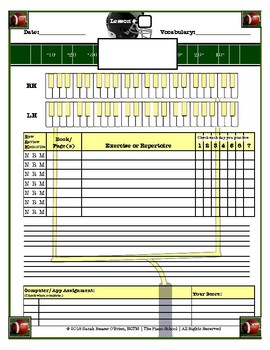 American Football Themed Piano Lesson Assignment Sheet