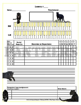 Panthers Themed Piano Lesson Assignment Sheet *BLACK PANTHER*