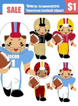 American Football clip art set 4 boys png