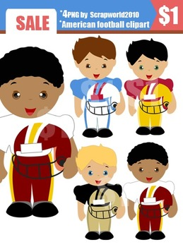American Football2 clip art set 4 boys png