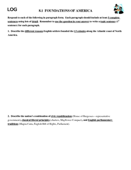 American Foundations LOG paragraphs