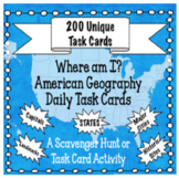 American Geography Task Card Set -200 Cards! Fun for Onlin