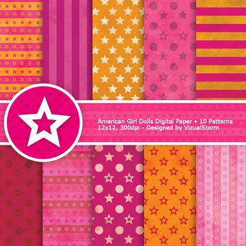 Stars and Stripes Digital Paper, 10 Colorful Orange and Pink Patterns