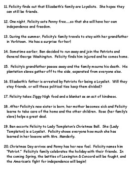 American Girl Felicity American Revolution Sequence Timeline