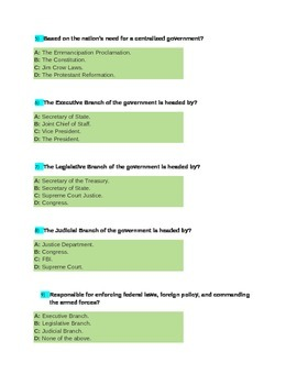 American Government Branches of Government Quiz 2 for  4th Grade