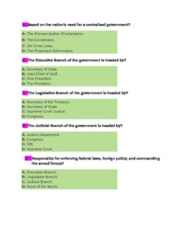 American Government Branches of Government Quiz for  4th Grade