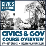 American Government Civics Course Overview and Calendar