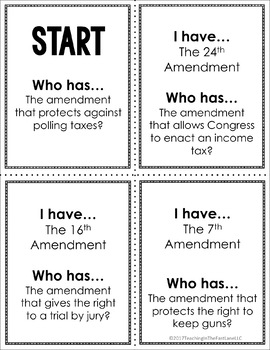 American Government: Constitutional Amendments I Have Who Has {U.S. History}