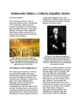 Informational Text - American Government: Democratic Values (no prep/sub plan)