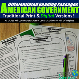 American Government Differentiated Reading Passages (Print
