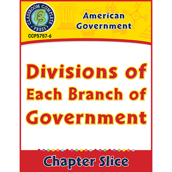 American Government: Divisions of Each Branch of Government Gr. 5-8