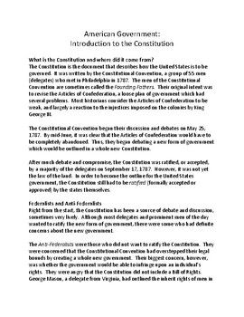 American Government Notes for 4th - 6th grade: A Constitution Study