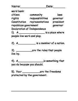 American Government Reading Comprehension