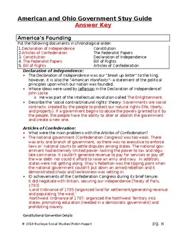 American and Ohio Government Course Study  Guide