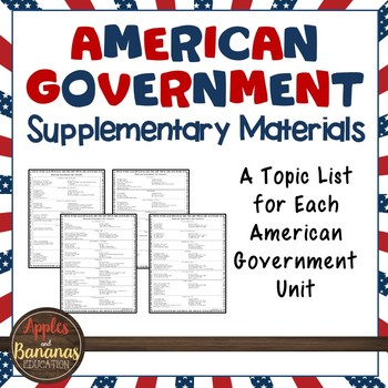 American Government Supplementary Materials - Topic Lists for Each Unit