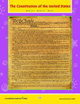 American Government: The Constitution of the United States - BONUS WORKSHEETS