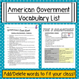 American Government Vocabulary List