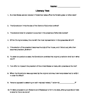 American Government Voting Rights Literacy Tests By Aaron Mathews