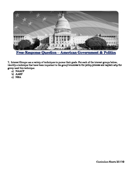 American Government and Politics Free-Response Question Test Workbook