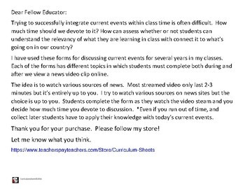 American Government easy to use CURRENT EVENT FORMS for class