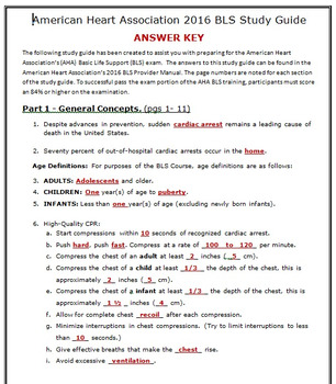 American Heart Association 2015 Basic Life Suport (BLS) Exam Study Guide