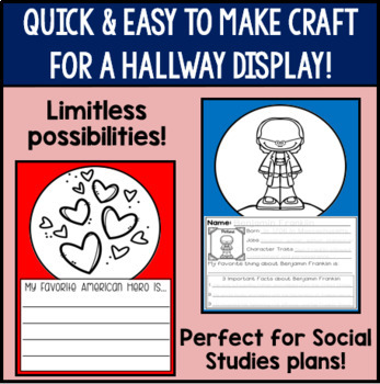 American Hero Writing Activities- Differentiated for First Grade