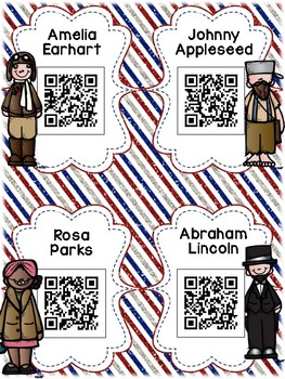 American Heroes: 16 Biography QR Codes for Daily Five Listen to Reading