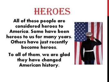 American Heroes - 3rd Grade SS TEKS 14a Powerpoint (power point)