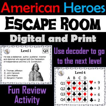 American Heroes Activity: Escape Room - Social Studies