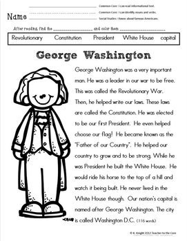 American Heroes Common Core Informational Reading and More