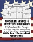 American Heroes/Inventors Close Reading: Text Evidence, HW, Assessment & More}