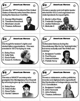 American Heroes Task Cards: Martin Luther King, Rosa Parks, Abraham Lincoln etc.