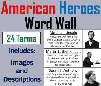 American Heroes Word Wall Cards