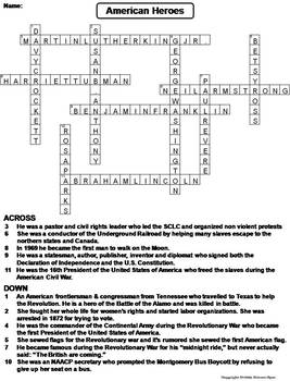 American Heroes Worksheet/ Crossword Puzzle