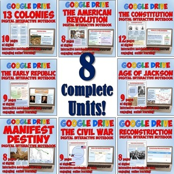 US History 1: Colonies - 1877 Google Drive Notebook Bundle for Distance Learning