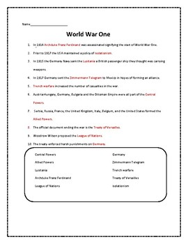 American History 1940-2017 fill in the blank worksheets